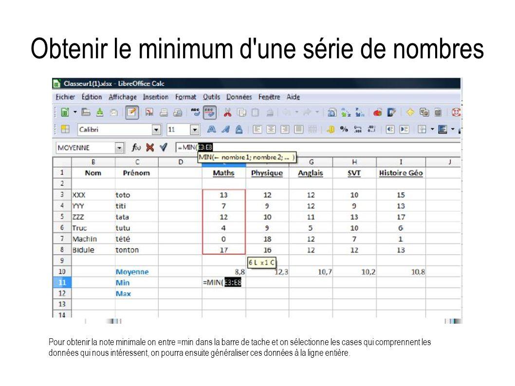 Obtenir le minimum d'une série de nombres Pour obtenir la note minimale on entre =min dans la barre de tache et on sélectionne les cases qui comprenne