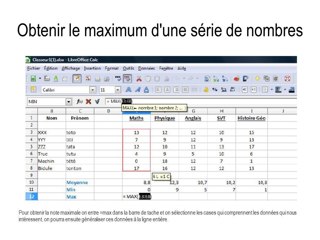 Obtenir le maximum d'une série de nombres Pour obtenir la note maximale on entre =max dans la barre de tache et on sélectionne les cases qui comprenne