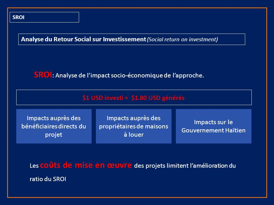 SROI Analyse du Retour Social sur Investissement (Social return on investment) SROI : Analyse de limpact socio-économique de lapproche.