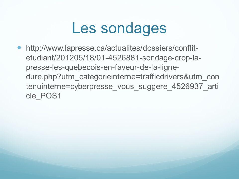 Les sondages http://www.lapresse.ca/actualites/dossiers/conflit- etudiant/201205/18/01-4526881-sondage-crop-la- presse-les-quebecois-en-faveur-de-la-ligne- dure.php utm_categorieinterne=trafficdrivers&utm_con tenuinterne=cyberpresse_vous_suggere_4526937_arti cle_POS1