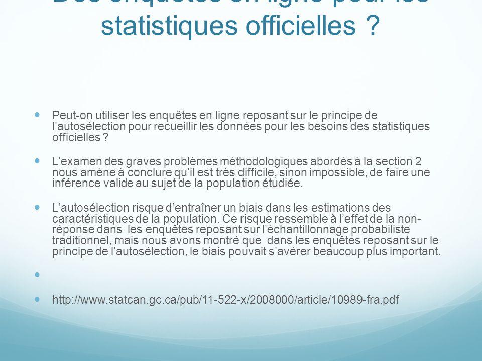 Des enquêtes en ligne pour les statistiques officielles .