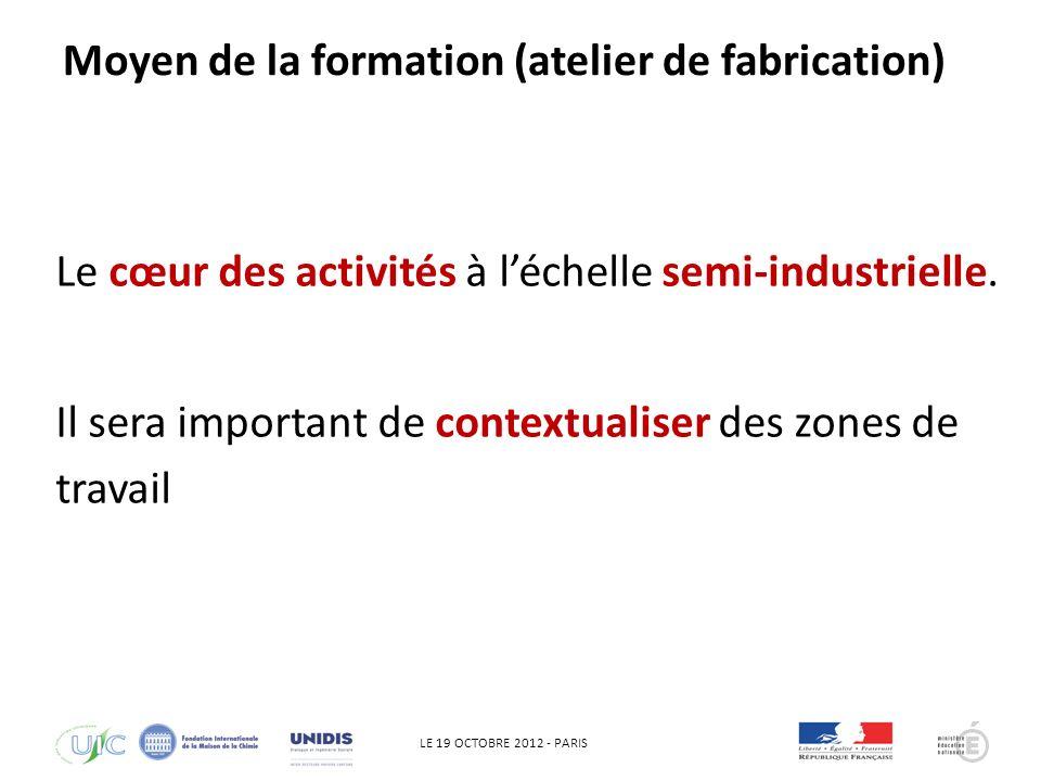 LE 19 OCTOBRE 2012 - PARIS QHSE Le cœur des activités à léchelle semi-industrielle.
