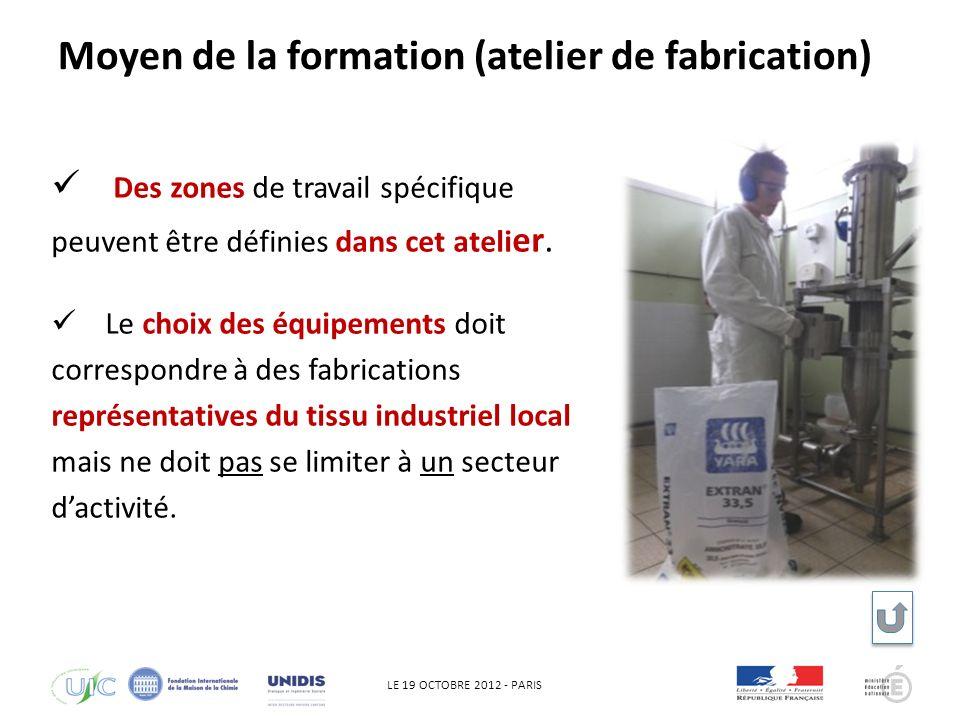 LE 19 OCTOBRE 2012 - PARIS QHSE Des zones de travail spécifique peuvent être définies dans cet ateli er.