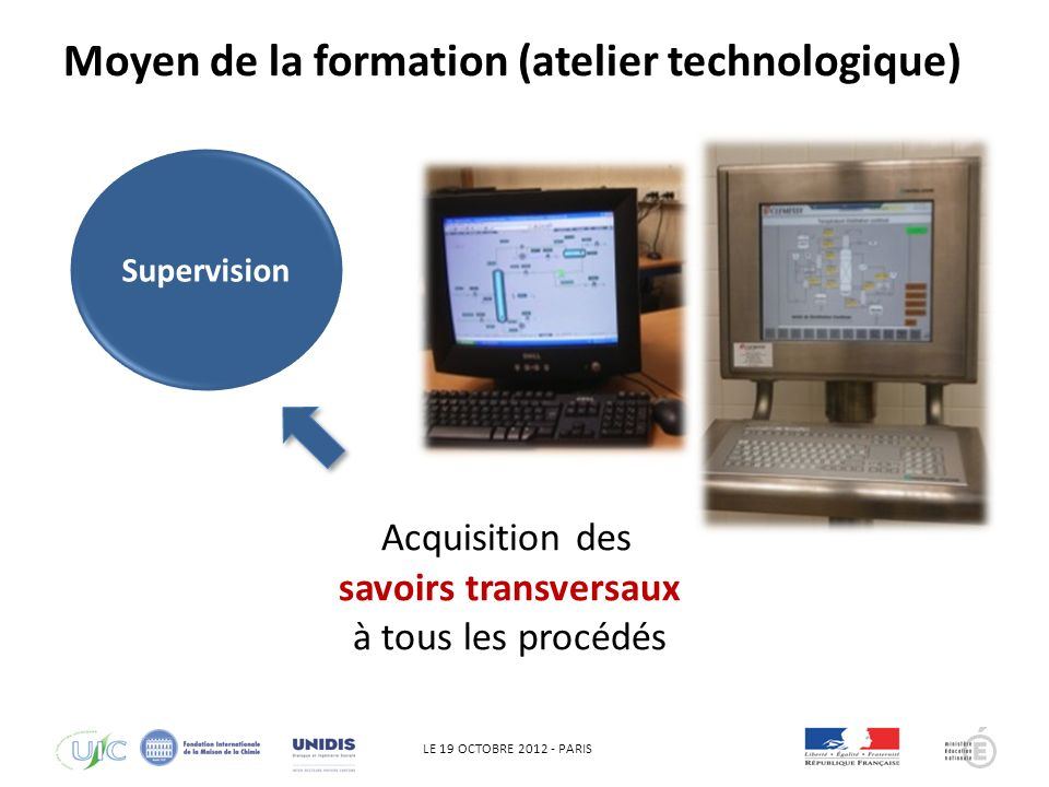 LE 19 OCTOBRE 2012 - PARIS QHSE Acquisition des savoirs transversaux à tous les procédés Supervision Moyen de la formation (atelier technologique)