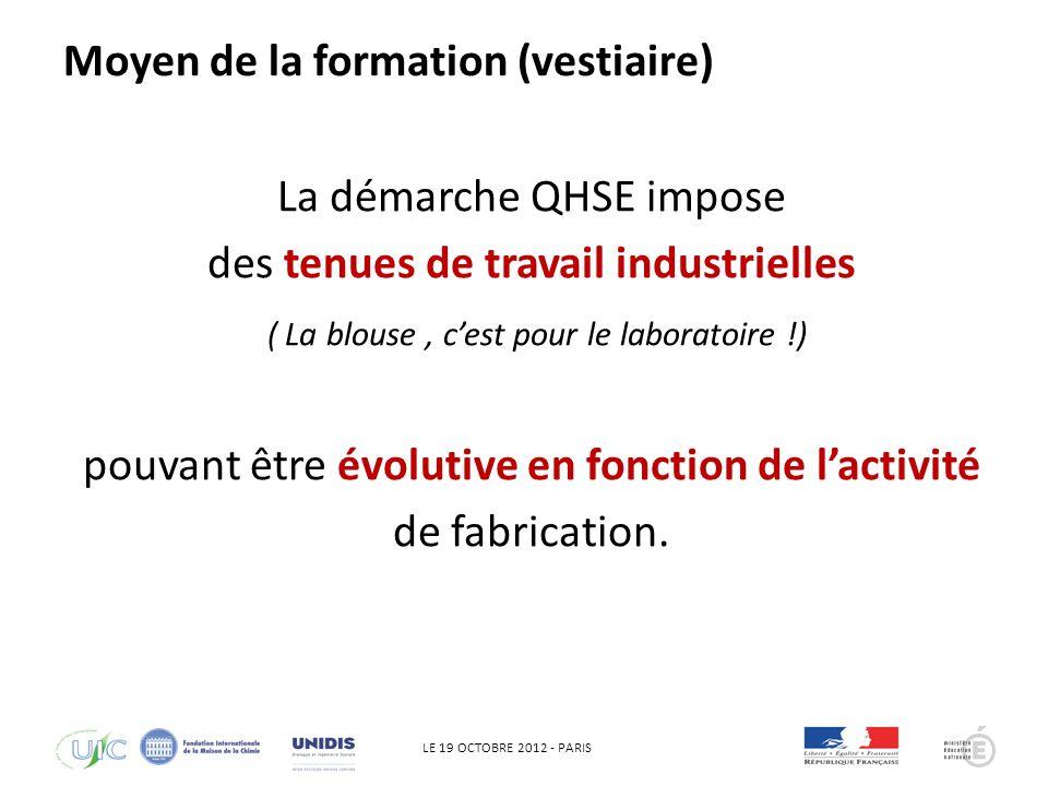 LE 19 OCTOBRE 2012 - PARIS QHSE ZAC ou ZEC pour des fabrications imposant des conditions dhygiènes ( Agro, Cosmétique, Pharma..) Moyen de la formation (atelier de fabrication)