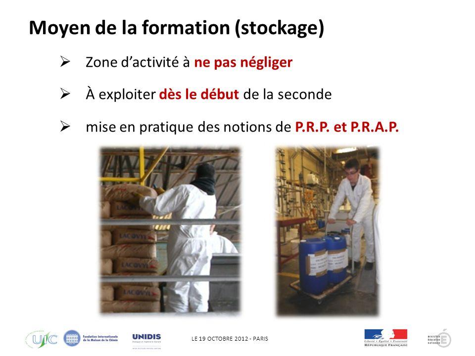 LE 19 OCTOBRE 2012 - PARIS Appréhender la démarche QHSE : qui commence toujours par une vérification de la disponibilité des MP et son identification Moyen de la formation (stockage)