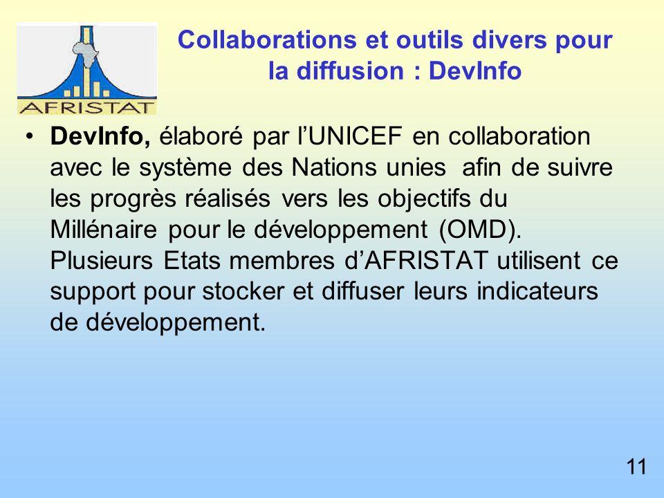 Collaborations et outils divers pour la diffusion : DevInfo DevInfo, élaboré par lUNICEF en collaboration avec le système des Nations unies afin de suivre les progrès réalisés vers les objectifs du Millénaire pour le développement (OMD).