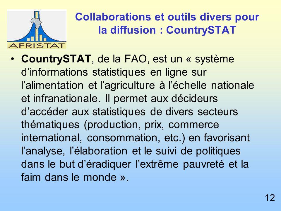 Collaborations et outils divers pour la diffusion : CountrySTAT CountrySTAT, de la FAO, est un « système dinformations statistiques en ligne sur lalimentation et lagriculture à léchelle nationale et infranationale.