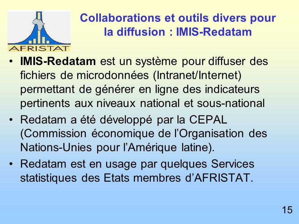 Collaborations et outils divers pour la diffusion : IMIS-Redatam IMIS-Redatam est un système pour diffuser des fichiers de microdonnées (Intranet/Internet) permettant de générer en ligne des indicateurs pertinents aux niveaux national et sous-national Redatam a été développé par la CEPAL (Commission économique de lOrganisation des Nations-Unies pour lAmérique latine).