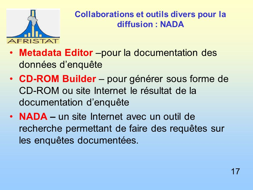 Collaborations et outils divers pour la diffusion : NADA Metadata Editor –pour la documentation des données denquête CD-ROM Builder – pour générer sous forme de CD-ROM ou site Internet le résultat de la documentation denquête NADA – un site Internet avec un outil de recherche permettant de faire des requêtes sur les enquêtes documentées.