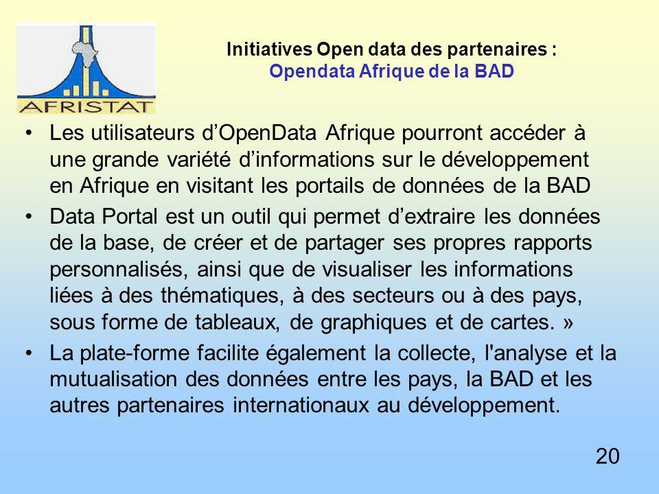 Initiatives Open data des partenaires : Opendata Afrique de la BAD Les utilisateurs dOpenData Afrique pourront accéder à une grande variété dinformations sur le développement en Afrique en visitant les portails de données de la BAD Data Portal est un outil qui permet dextraire les données de la base, de créer et de partager ses propres rapports personnalisés, ainsi que de visualiser les informations liées à des thématiques, à des secteurs ou à des pays, sous forme de tableaux, de graphiques et de cartes.