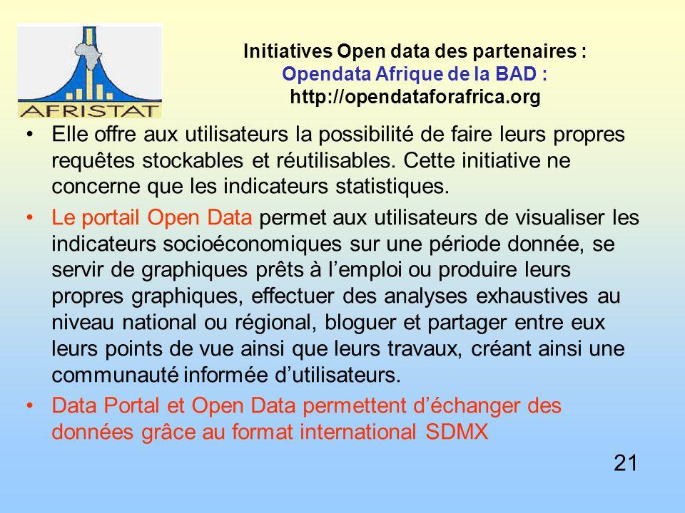 Initiatives Open data des partenaires : Opendata Afrique de la BAD : http://opendataforafrica.org Elle offre aux utilisateurs la possibilité de faire leurs propres requêtes stockables et réutilisables.