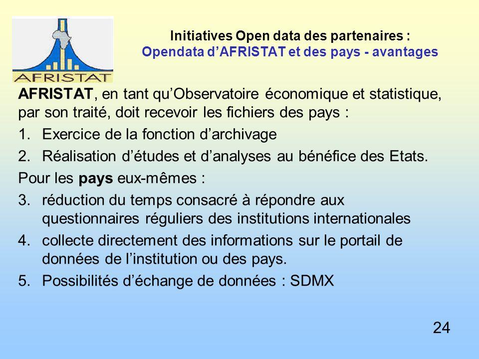Initiatives Open data des partenaires : Opendata dAFRISTAT et des pays - avantages AFRISTAT, en tant quObservatoire économique et statistique, par son traité, doit recevoir les fichiers des pays : 1.Exercice de la fonction darchivage 2.Réalisation détudes et danalyses au bénéfice des Etats.