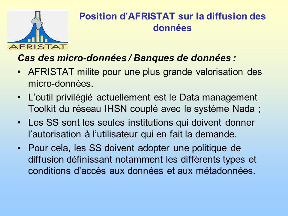 Position dAFRISTAT sur la diffusion des données Cas des micro-données / Banques de données : AFRISTAT milite pour une plus grande valorisation des micro-données.