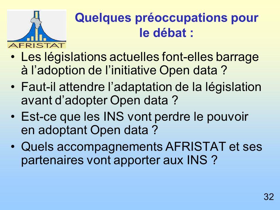Quelques préoccupations pour le débat : Les législations actuelles font-elles barrage à ladoption de linitiative Open data .