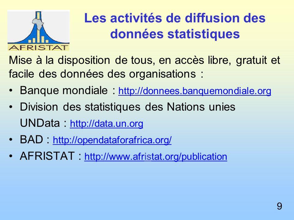 Les activités de diffusion des données statistiques Mise à la disposition de tous, en accès libre, gratuit et facile des données des organisations : Banque mondiale : http://donnees.banquemondiale.org Division des statistiques des Nations unies UNData : http://data.un.org BAD : http://opendataforafrica.org/ AFRISTAT : http://www.afristat.org/publication 9