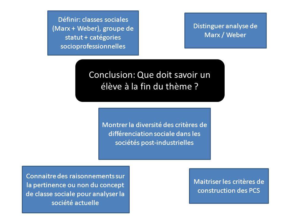 Maitriser les critères de construction des PCS Connaitre des raisonnements sur la pertinence ou non du concept de classe sociale pour analyser la soci
