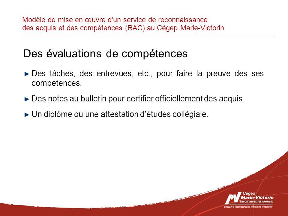 Modèle de mise en œuvre dun service de reconnaissance des acquis et des compétences (RAC) au Cégep Marie-Victorin Des évaluations de compétences Des tâches, des entrevues, etc., pour faire la preuve des ses compétences.