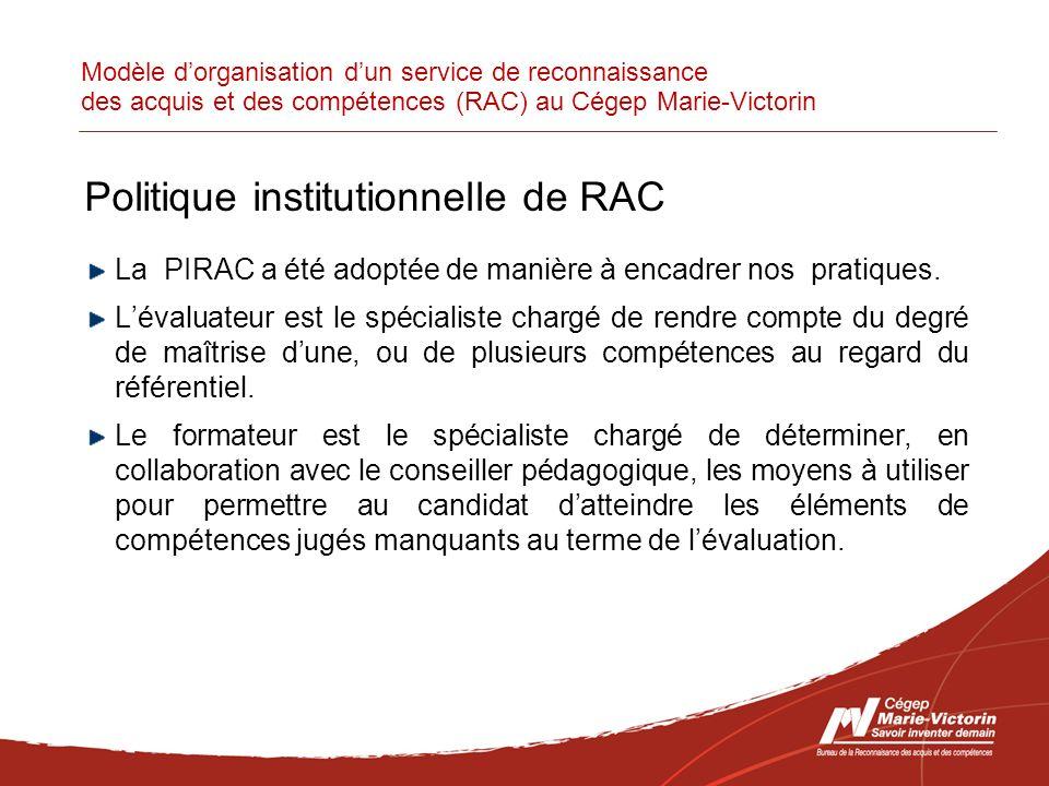Modèle dorganisation dun service de reconnaissance des acquis et des compétences (RAC) au Cégep Marie-Victorin Politique institutionnelle de RAC La PIRAC a été adoptée de manière à encadrer nos pratiques.