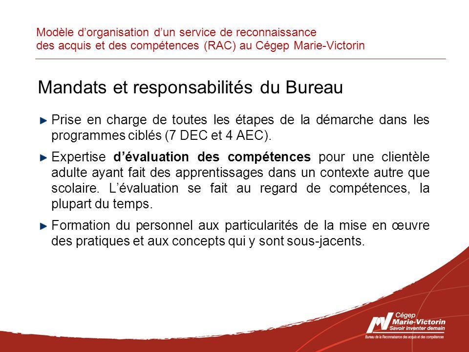 Modèle dorganisation dun service de reconnaissance des acquis et des compétences (RAC) au Cégep Marie-Victorin Mandats et responsabilités du Bureau Prise en charge de toutes les étapes de la démarche dans les programmes ciblés (7 DEC et 4 AEC).