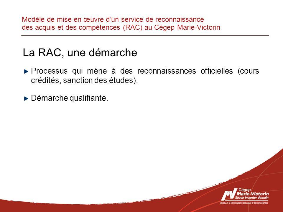 Modèle de mise en œuvre dun service de reconnaissance des acquis et des compétences (RAC) au Cégep Marie-Victorin La RAC, une démarche Processus qui mène à des reconnaissances officielles (cours crédités, sanction des études).