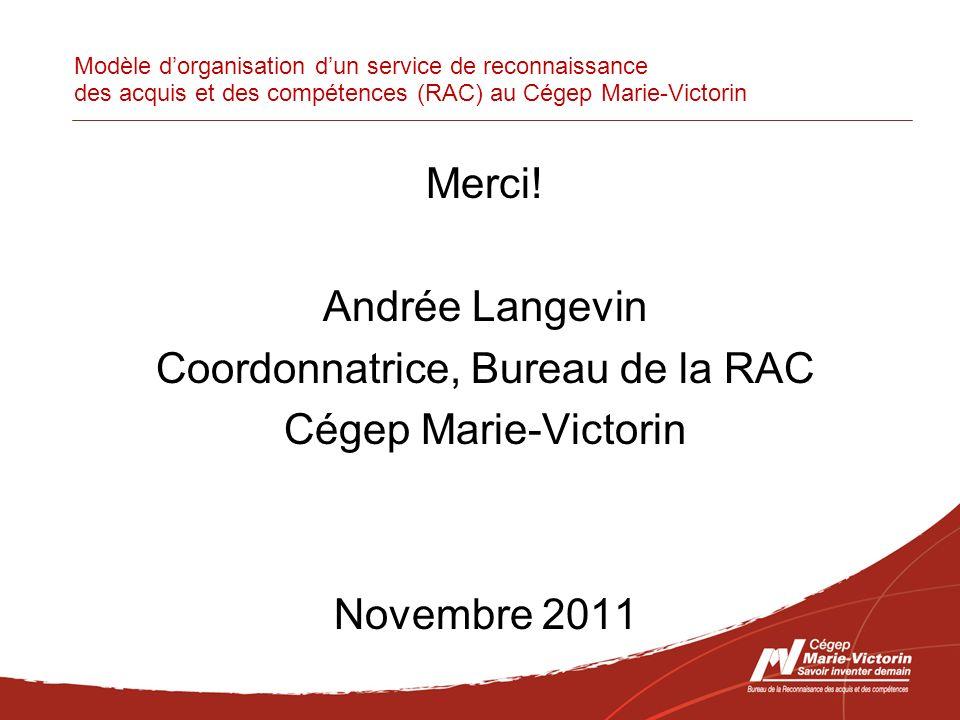 Modèle dorganisation dun service de reconnaissance des acquis et des compétences (RAC) au Cégep Marie-Victorin Merci.
