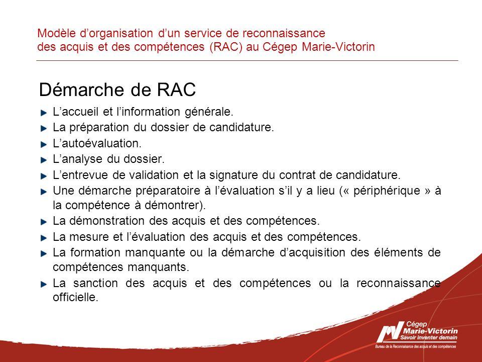 Modèle dorganisation dun service de reconnaissance des acquis et des compétences (RAC) au Cégep Marie-Victorin Démarche de RAC Laccueil et linformation générale.