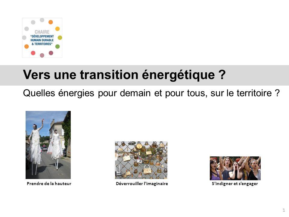 Vers une transition énergétique ? Quelles énergies pour demain et pour tous, sur le territoire ? 1 Prendre de la hauteurDéverrouiller limaginaireSindi