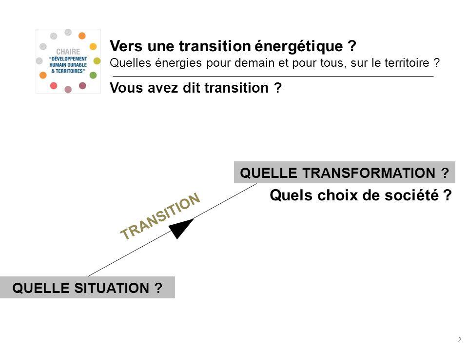 2 Vers une transition énergétique ? Quelles énergies pour demain et pour tous, sur le territoire ? Vous avez dit transition ? Quels choix de société ?