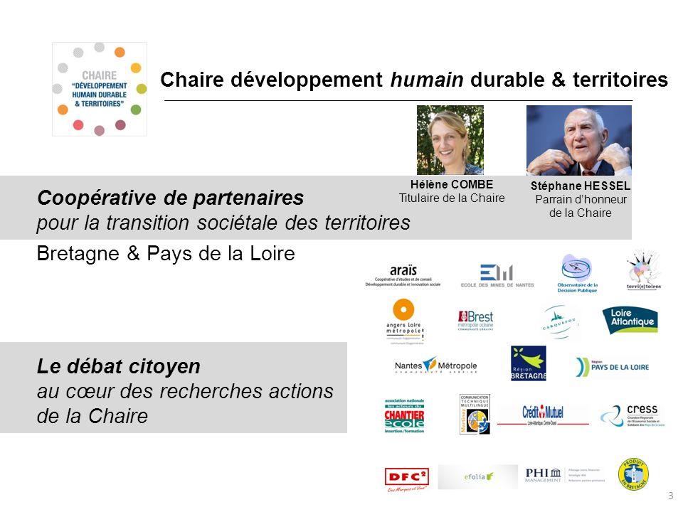 Chaire développement humain durable & territoires Coopérative de partenaires pour la transition sociétale des territoires Bretagne & Pays de la Loire