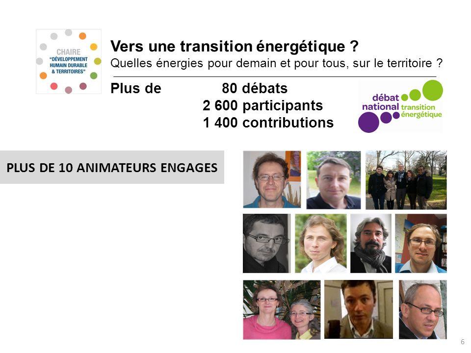 Vers une transition énergétique ? Quelles énergies pour demain et pour tous, sur le territoire ? 6 PLUS DE 10 ANIMATEURS ENGAGES Plus de 80 débats 2 6