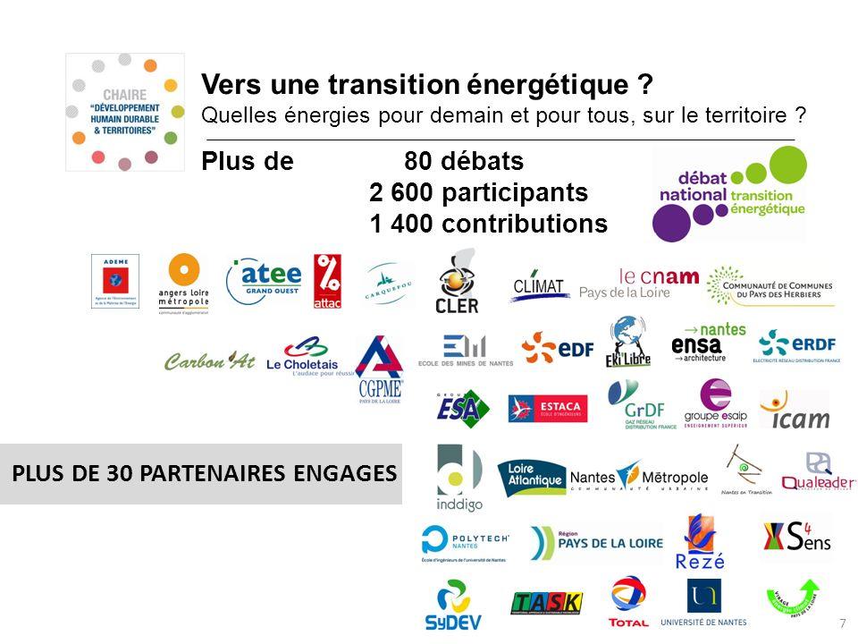 Vers une transition énergétique ? Quelles énergies pour demain et pour tous, sur le territoire ? 7 PLUS DE 30 PARTENAIRES ENGAGES Plus de 80 débats 2