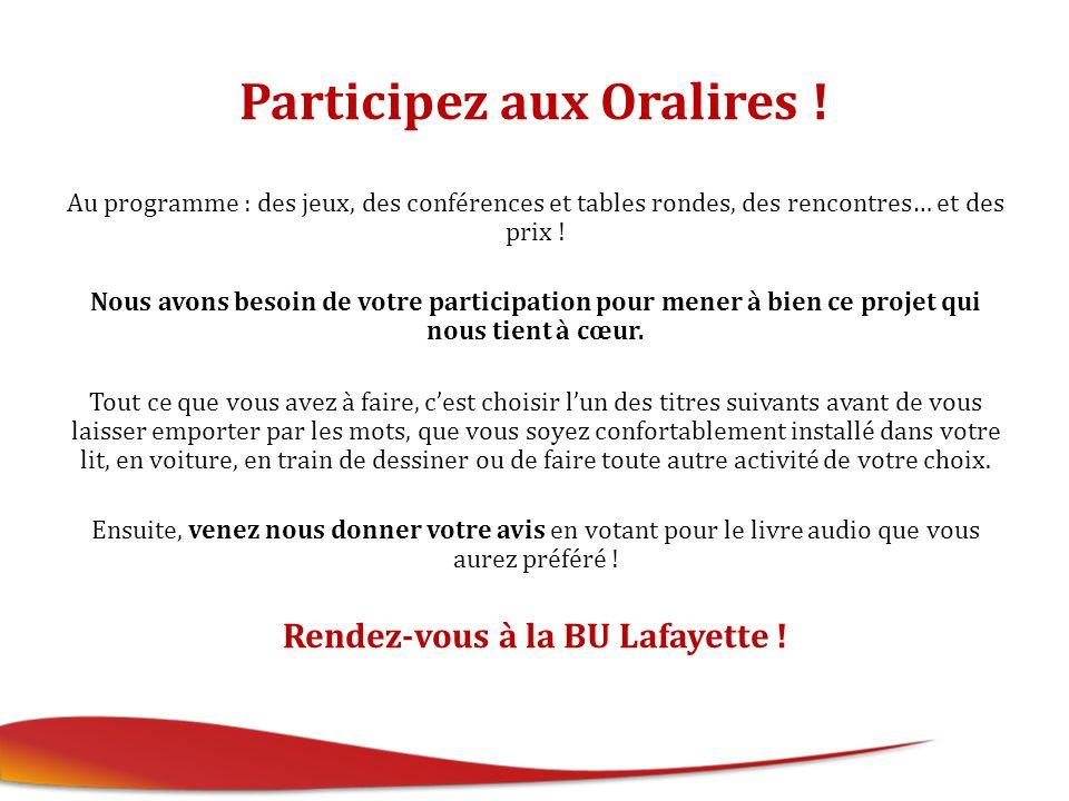 Participez aux Oralires .