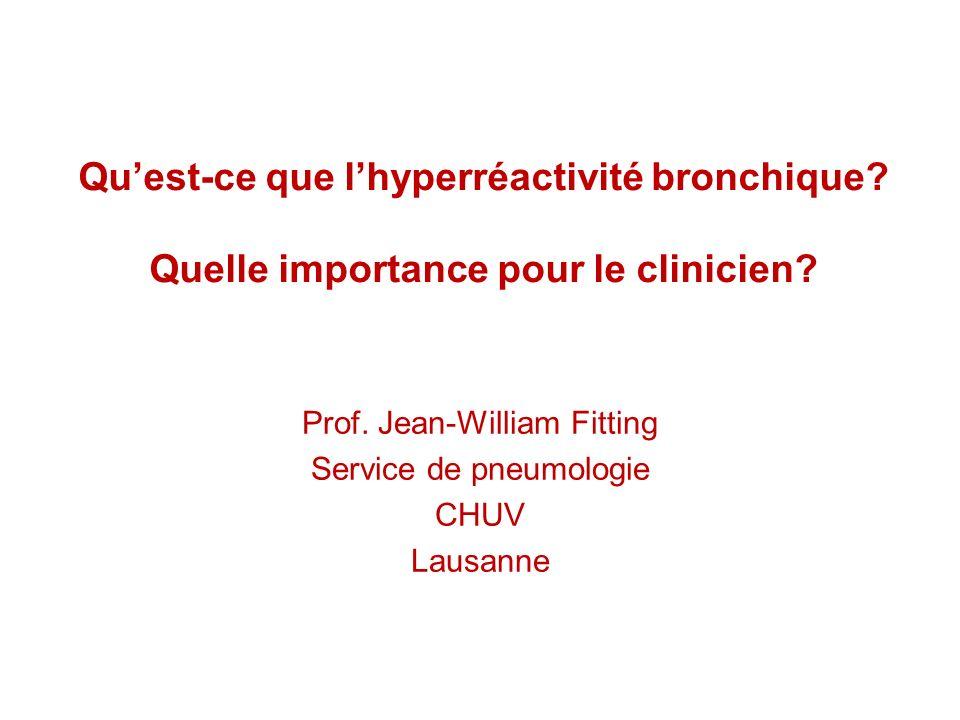 Quest-ce que lhyperréactivité bronchique? Quelle importance pour le clinicien? Prof. Jean-William Fitting Service de pneumologie CHUV Lausanne