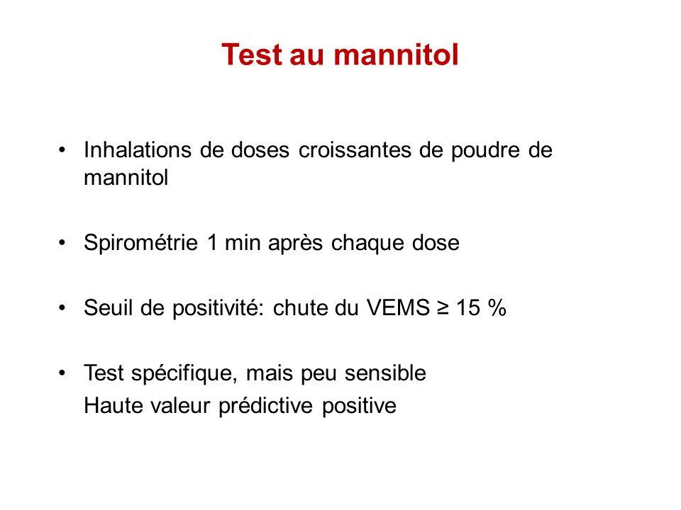 Test au mannitol Inhalations de doses croissantes de poudre de mannitol Spirométrie 1 min après chaque dose Seuil de positivité: chute du VEMS 15 % Te