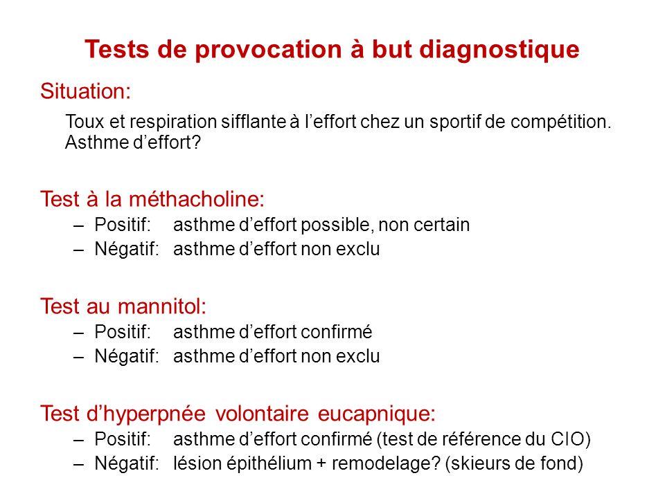Tests de provocation à but diagnostique Situation: Toux et respiration sifflante à leffort chez un sportif de compétition. Asthme deffort? Test à la m