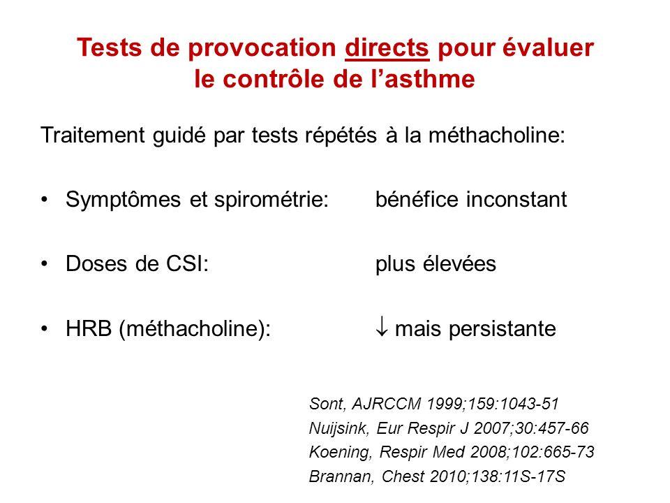 Tests de provocation indirects pour évaluer le contrôle de lasthme Tests étudiés: exercice, NaCl hypertonique, mannitol Sous CSI, lHRB aux tests indirects diminue en parallèle avec linflammation bronchique à éosinophiles et mastocytes Sous CSI, une augmentation de lHRB au mannitol est un facteur prédictif dexacerbation Après arrêt des CSI, lHRB au mannitol réapparaît avant les symptômes Leuppi, AJRCCM 2001;163:406-12 Brannan, Respirology 2002;7:37-44 Brannan, Chest 2010;138:11S-17S