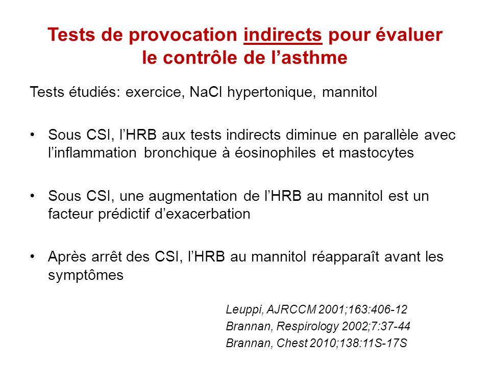Conclusions Tests de provocation bronchique: –Directs: méthacholine, histamine –Indirects: exercice, hyperpnée volontaire eucapnique, mannitol LHRB relève de deux composantes: –Variable inflammation, révélée par les tests indirects –Persistante remodelage, révélée par les tests directs La mesure de lHRB peut aider au diagnostic de lasthme: –Un test direct négatif exclut pratiquement lasthme –Un test indirect positif confirme lasthme Lutilité de la mesure de lHRB pour évaluer le contrôle de lasthme est discutée (tests indirects)