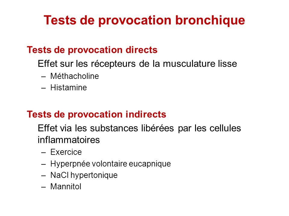 Tests de provocation bronchique Tests de provocation directs Effet sur les récepteurs de la musculature lisse –Méthacholine –Histamine Tests de provoc
