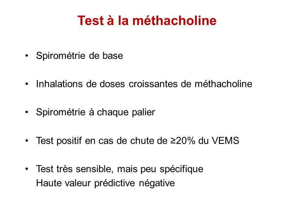 Test à la méthacholine Spirométrie de base Inhalations de doses croissantes de méthacholine Spirométrie à chaque palier Test positif en cas de chute d