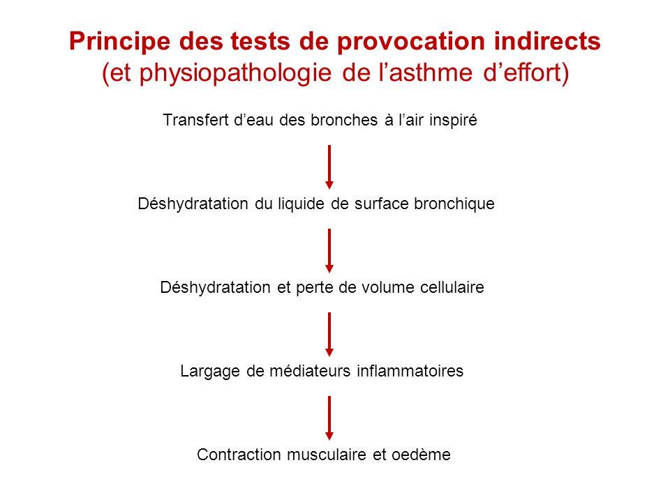 Principe des tests de provocation indirects (et physiopathologie de lasthme deffort) Transfert deau des bronches à lair inspiré Déshydratation du liqu
