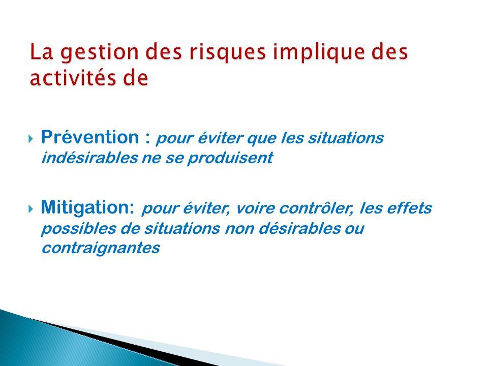 Prévention : pour éviter que les situations indésirables ne se produisent Mitigation: pour éviter, voire contrôler, les effets possibles de situations non désirables ou contraignantes