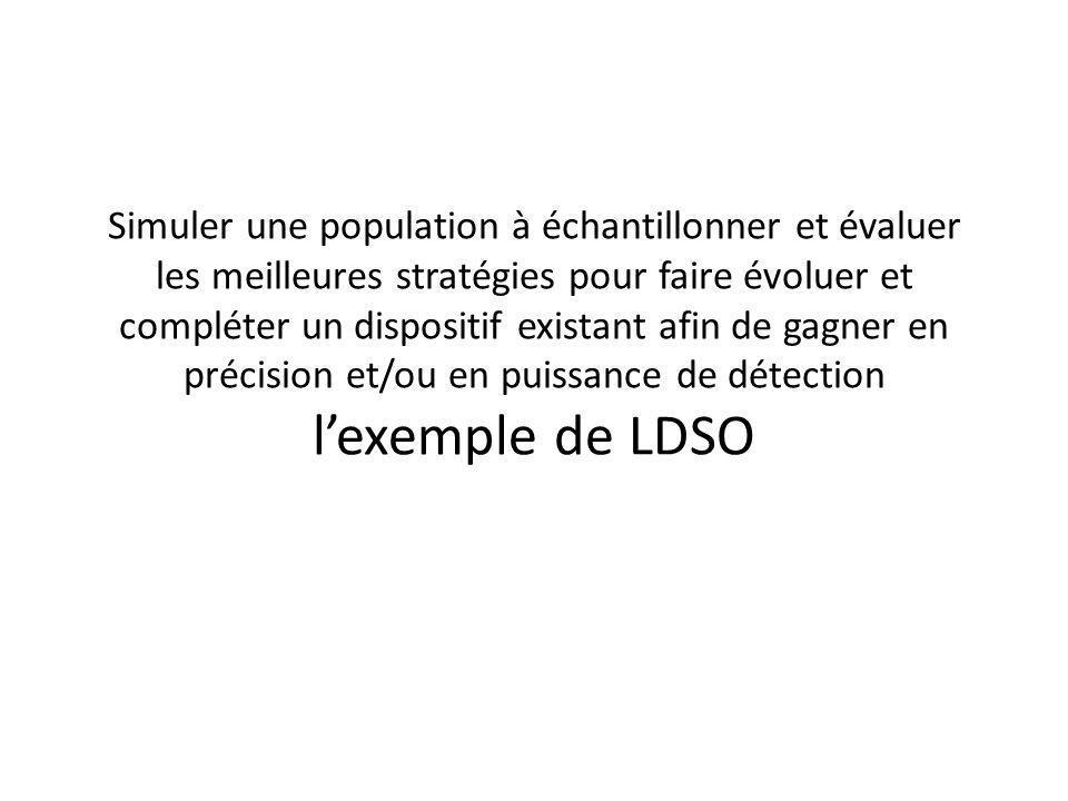 Simuler une population à échantillonner et évaluer les meilleures stratégies pour faire évoluer et compléter un dispositif existant afin de gagner en précision et/ou en puissance de détection lexemple de LDSO