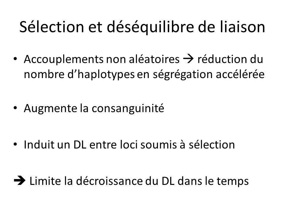 Sélection et déséquilibre de liaison Accouplements non aléatoires réduction du nombre dhaplotypes en ségrégation accélérée Augmente la consanguinité Induit un DL entre loci soumis à sélection Limite la décroissance du DL dans le temps