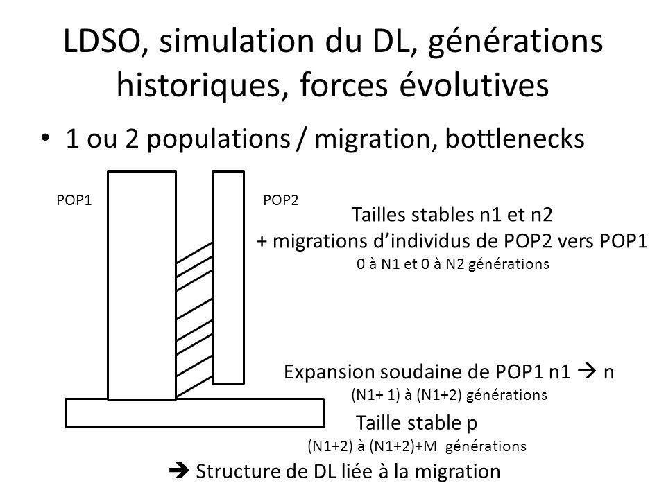 LDSO, simulation du DL, générations historiques, forces évolutives 1 ou 2 populations / migration, bottlenecks Tailles stables n1 et n2 + migrations dindividus de POP2 vers POP1 0 à N1 et 0 à N2 générations Taille stable p (N1+2) à (N1+2)+M générations POP1POP2 Expansion soudaine de POP1 n1 n (N1+ 1) à (N1+2) générations Structure de DL liée à la migration