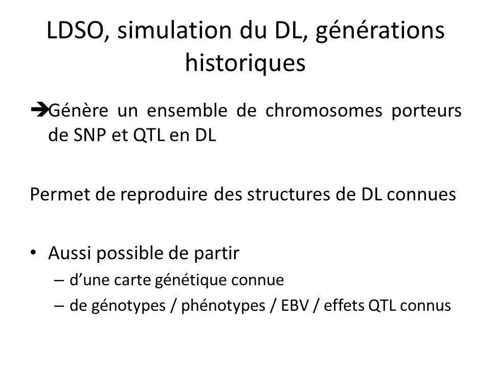 LDSO, simulation du DL, générations historiques Génère un ensemble de chromosomes porteurs de SNP et QTL en DL Permet de reproduire des structures de DL connues Aussi possible de partir – dune carte génétique connue – de génotypes / phénotypes / EBV / effets QTL connus