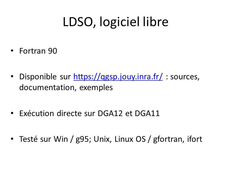 LDSO, logiciel libre Fortran 90 Disponible sur https://qgsp.jouy.inra.fr/ : sources, documentation, exempleshttps://qgsp.jouy.inra.fr/ Exécution directe sur DGA12 et DGA11 Testé sur Win / g95; Unix, Linux OS / gfortran, ifort