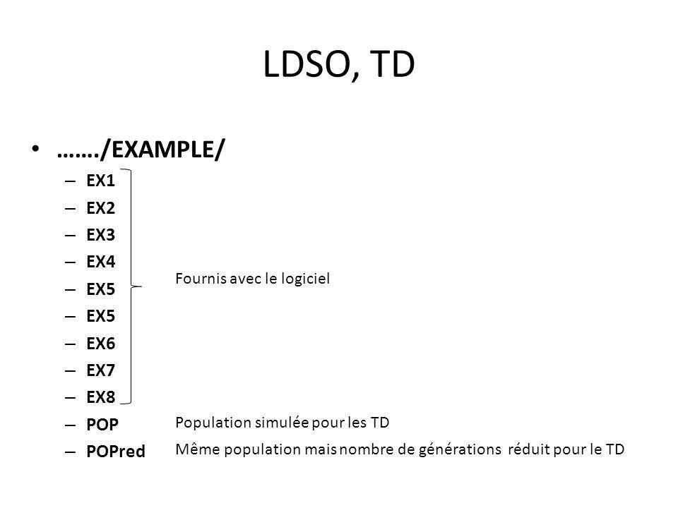 LDSO, TD ……./EXAMPLE/ – EX1 – EX2 – EX3 – EX4 – EX5 – EX6 – EX7 – EX8 – POP – POPred Fournis avec le logiciel Population simulée pour les TD Même population mais nombre de générations réduit pour le TD