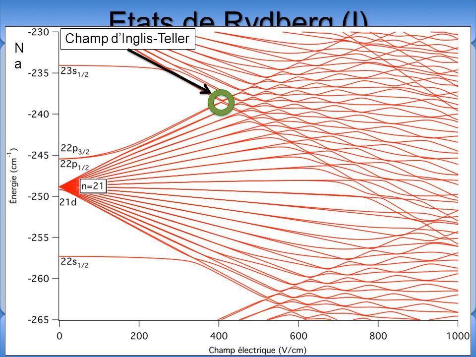 Etats de Rydberg (I) Etat électronique très excité Pour latome dhydrogène, les niveaux dénergie dun électron dans un état de Rydberg est donné par: Mo
