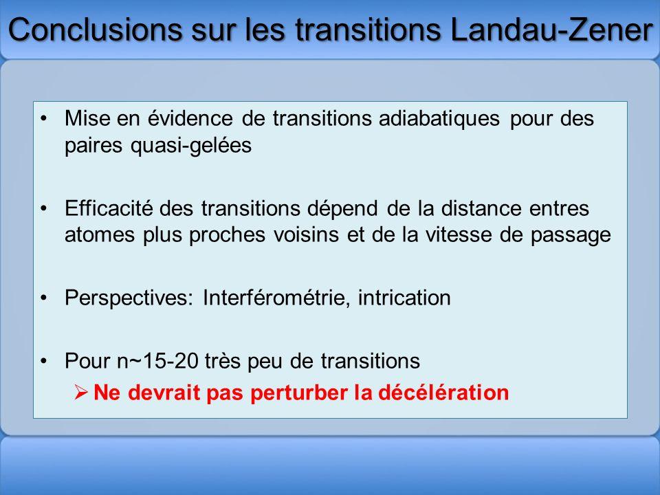 Conclusions sur les transitions Landau-Zener Mise en évidence de transitions adiabatiques pour des paires quasi-gelées Efficacité des transitions dépe